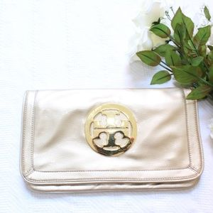 Tory Burch Reva Gold Patent Leather Clutch